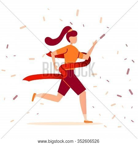 Young Brunette Athlete Girl Runs A Marathon And Finishes First The Finish Line. Victory In A Sport R