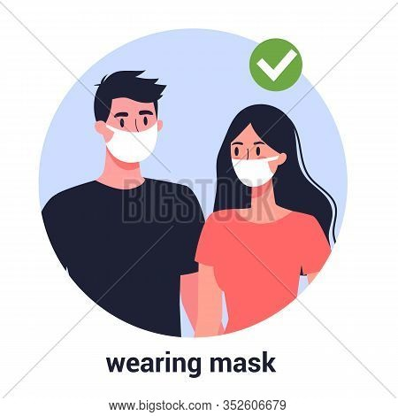 Woman And Man In Facial Mask. Virus Prevention And Protection.