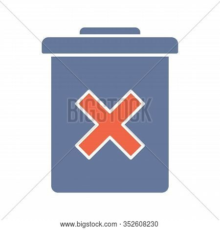 Delete Forever Button Glyph Color Icon. Dustbin. Garbage Can, Trashcan. Do Not Discard. Silhouette S