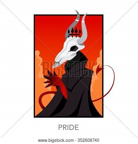 Seven Deadly Sins Concept. Christian Bible Character With Horn