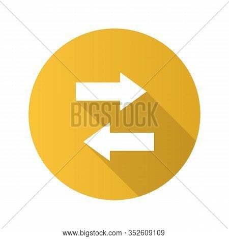 Horizontal Swap Flat Design Long Shadow Glyph Icon. Exchange Arrows. Horizontal Flip. Vector Silhoue