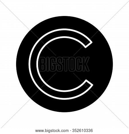 Copyright Symbol Glyph Icon. License. Intellectual Property. Enclosed C. Silhouette Symbol. Negative