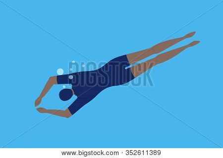 Swimmer Under Water. Character Swimming In Swimming Pool Or Sea