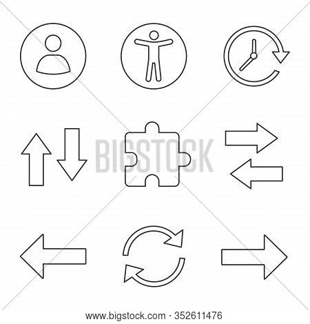 Ui, Ux Linear Icons Set. Userpic, Accessibility, Update, Vertical And Horizontal Swap, Extension, Ne