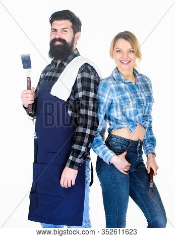 Couple In Love Getting Ready For Barbecue. Man Bearded Guy And Girl Ready For Barbecue White Backgro