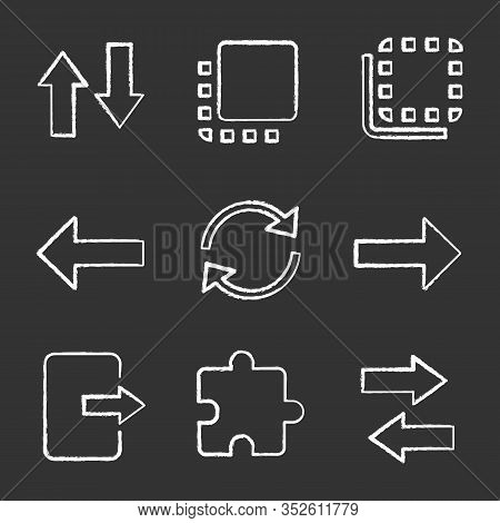 Ui, Ux Chalk Icons Set. Vertical And Horizontal Swap, Flip To Back And Front, Next, Previous Buttons