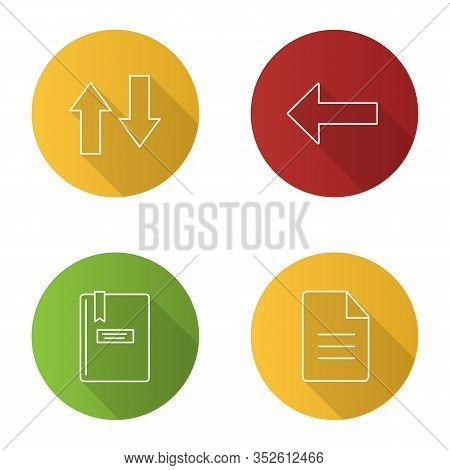 Ui, Ux Flat Linear Long Shadow Icons Set. Vertical Swap, Back Arrow, Notepad, File. Vector Outline I