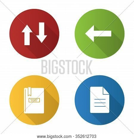 Ui, Ux Flat Design Long Shadow Glyph Icons Set. Vertical Swap, Back Arrow, Notepad, File. Vector Sil