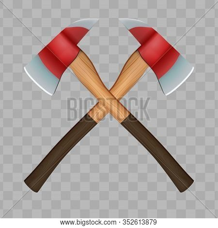 Crossed Classic Firefighter Axes. Vector Illustration Isolated On Transparent Background