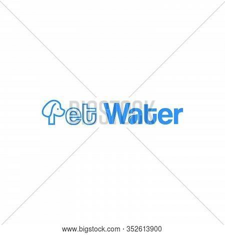 Pet Water Wordmark Logo Concept Illustration With Dog