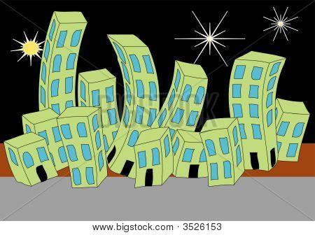 Cartoon Town Night Skyline.