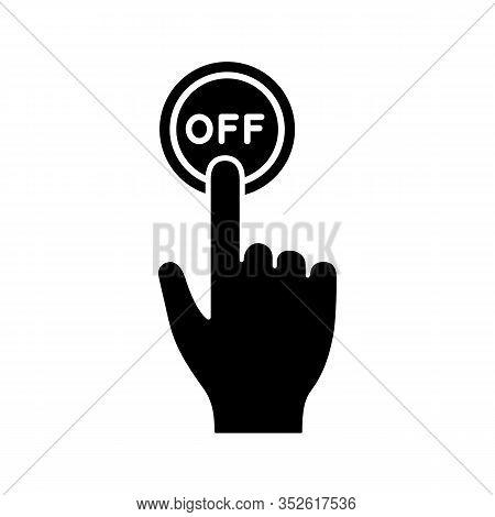 Turn Off Button Click Glyph Icon. Silhouette Symbol. Shutdown. Power Off. Hand Pressing Button. Nega