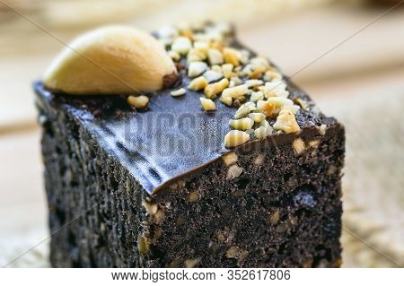 Chocolate Cake With Nuts. Brazilian Chocolate Dessert With Brazil Nuts. Known In Brazil As