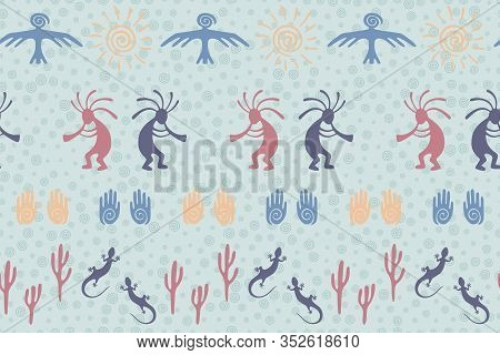 Native American Indian Vector Ethnic Tribal Motifs Seamless Pattern. Aborigine Design With Humpbacke
