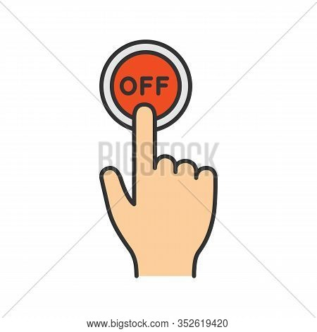 Turn Off Button Click Color Icon. Shutdown. Power Off. Hand Pressing Button. Isolated Vector Illustr