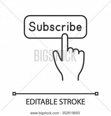 Subscribe Button Click Linear Icon. Thin Line Illustration. Subscription. Social Media App. Hand Pre