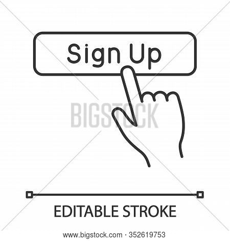 Sign Up Button Click Linear Icon. New User Registration. Thin Line Illustration. Membership. Hand Pr