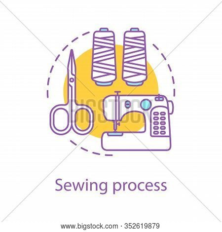 Sewing Process Concept Icon. Tailoring Idea Thin Line Illustration. Needlecraft. Dressmaking. Sewing