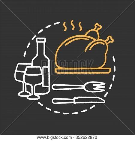 Restaurant Chalk Concept Icon. Serving. Holiday Dinner Or Supper Idea. Thanksgiving Turkey. Vector I