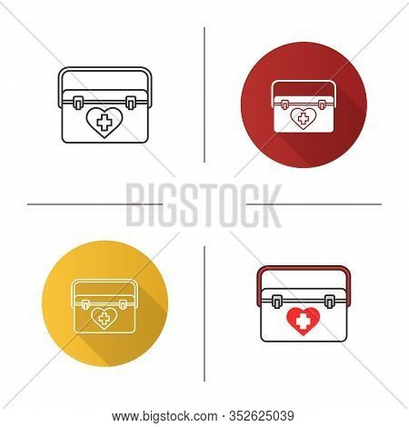 Organ Transplant Case Icon. Flat Design, Linear And Color Styles. Transplantation. Organ Donation. I
