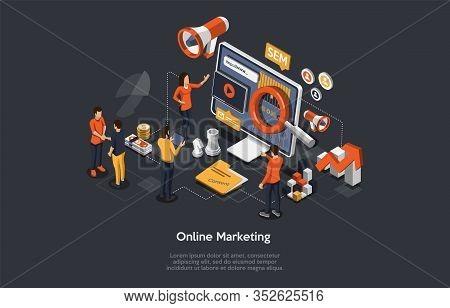 Online Marketing Concept. Internet Strategies And Development, Social Media, Business Goal. Marketer