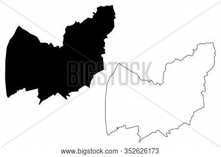 Manzini Region (swaziland, Kingdom Of Eswatini) Map Vector Illustration, Scribble Sketch Manzini Map
