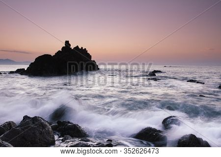 Barrika, Bizkaia/basque Country; Sep. 06, 2016. The Menakoz Beach At Sunset