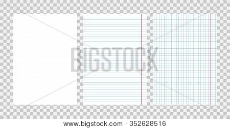 Realistic Squared And Lined Paper Sheets Of Notebook Or Copybook - Vector Illustration.
