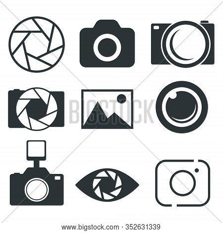Photography Icon, Photo Camera Icon, Diaphragm Icon - Vector Illustration.