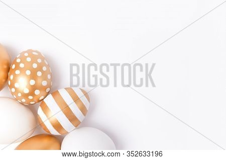 Easter Background Or Easter Concept. Easter Golden Decorated Eggs Isolated On White Background. Mini