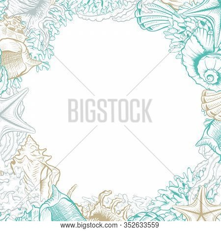 Square Frame With Seashells. Isolated Vector Poster With Contour Drawing Sea Shells. Wedding Design