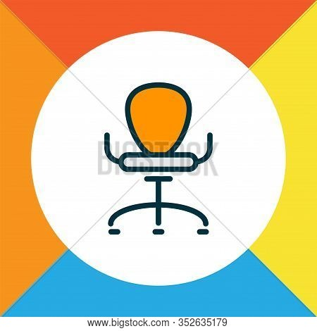 Ergonomic Armchair Icon Colored Line Symbol. Premium Quality Isolated Office Chair Element In Trendy