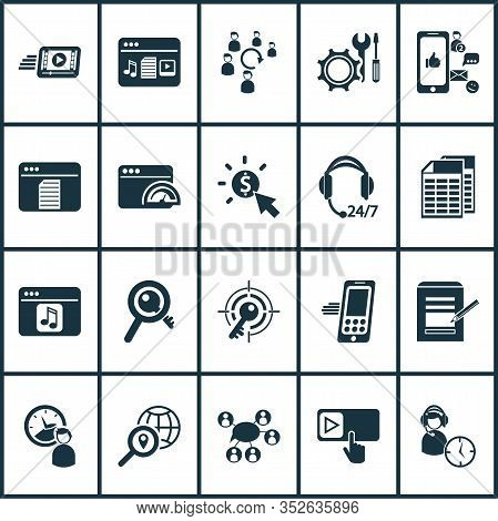 Finance Icons Set With Text Content, Page Speed, Target Keyword And Other Smartphone Elements. Isola