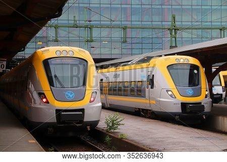 Gothenburg, Sweden - August 27, 2018: Vasttagen Trains In Gothenburg Central Station. Gothenburg Is