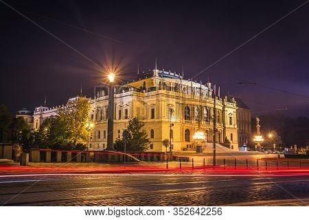 The Building Of Rudolfiunum Concert Halls On Jan Palach Square In Prague, Czech Republic - Night Vie