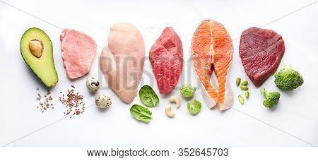 Keto diet food ingredients. Ketogenic diet menu