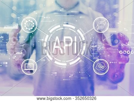 Api - Application Programming Interface Concept Api Concept With Young Man Holding His Hands