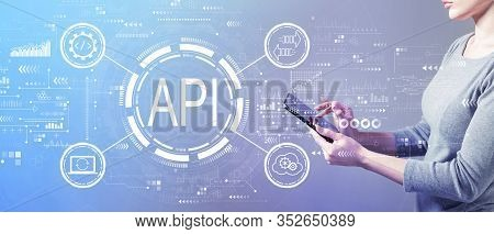 Api - Application Programming Interface Concept Api Concept With Business Woman Using A Tablet Compu