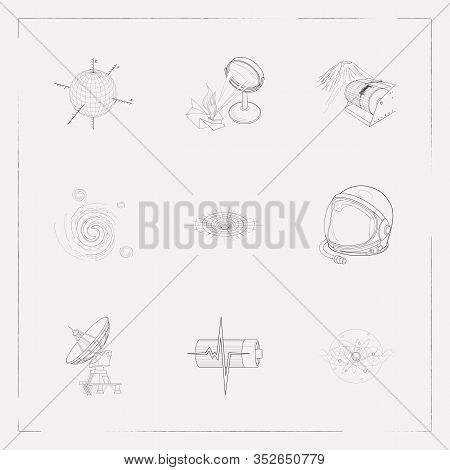 Set Of Physics Icons Line Style Symbols With Physical Research, Astronaut Helmet, Cosmology And Othe