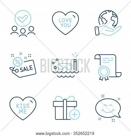 Add Gift, Smile Chat And Kiss Me Line Icons Set. Diploma Certificate, Save Planet, Group Of People.