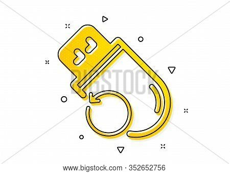 Backup Data Sign. Recovery Usb Memory Icon. Restore Information Symbol. Yellow Circles Pattern. Clas