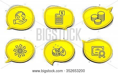 Bitcoin Sign. Diploma Certificate, Save Planet Chat Bubbles. Tips, Calculator And Versatile Line Ico