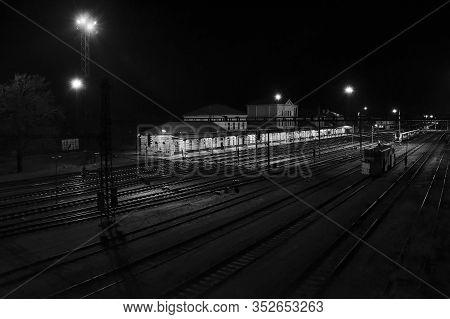 Chomutov, Czech Republic - February 16, 2020: Foggy Night On Empty Train Station
