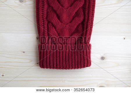 Sweater Sleeve With Cuff.  Knitted Sweater Is Handmade From Wool.