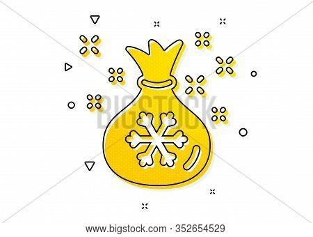 Christmas Or New Year Sign. Santa Sack Icon. Bag With Gifts And Presents Symbol. Yellow Circles Patt