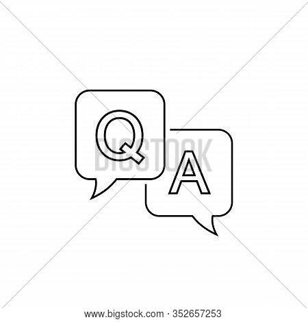 Question And Answer Line Icon In Flat Style. Discussion Speech Bubble Vector Illustration On White B