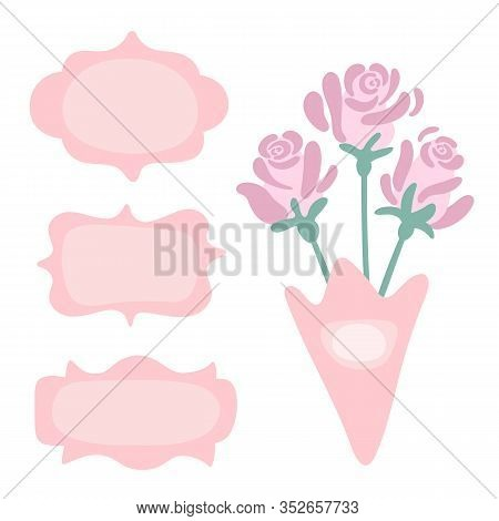Three Delicate Pink Vintage Frames With Place For Text. Bouquet Of Three Roses In A Green Wrap. Fram
