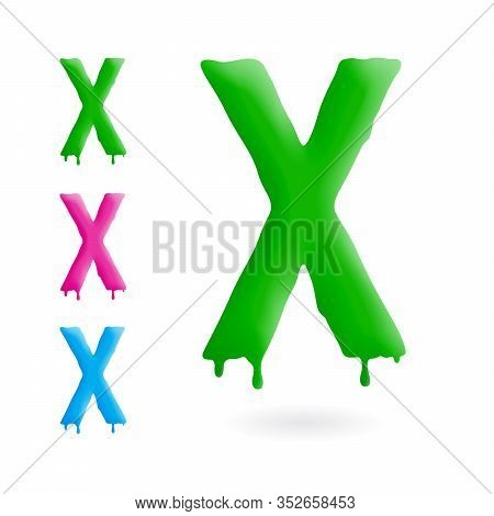Letter X Logo. Green, Blue And Pink Character With Drips. Dripping Liquid Symbol. Isolated Vector.