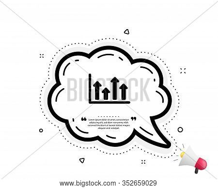 Growth Chart Icon. Quote Speech Bubble. Financial Graph Sign. Upper Arrows Symbol. Business Investme