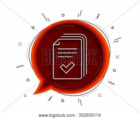 Handout Line Icon. Chat Bubble With Shadow. Documents Example Sign. Thin Line Handout Icon. Vector